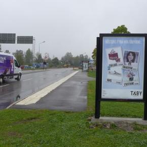 GUSO reklamskylt Marknadsvägen mot Täby Centrum
