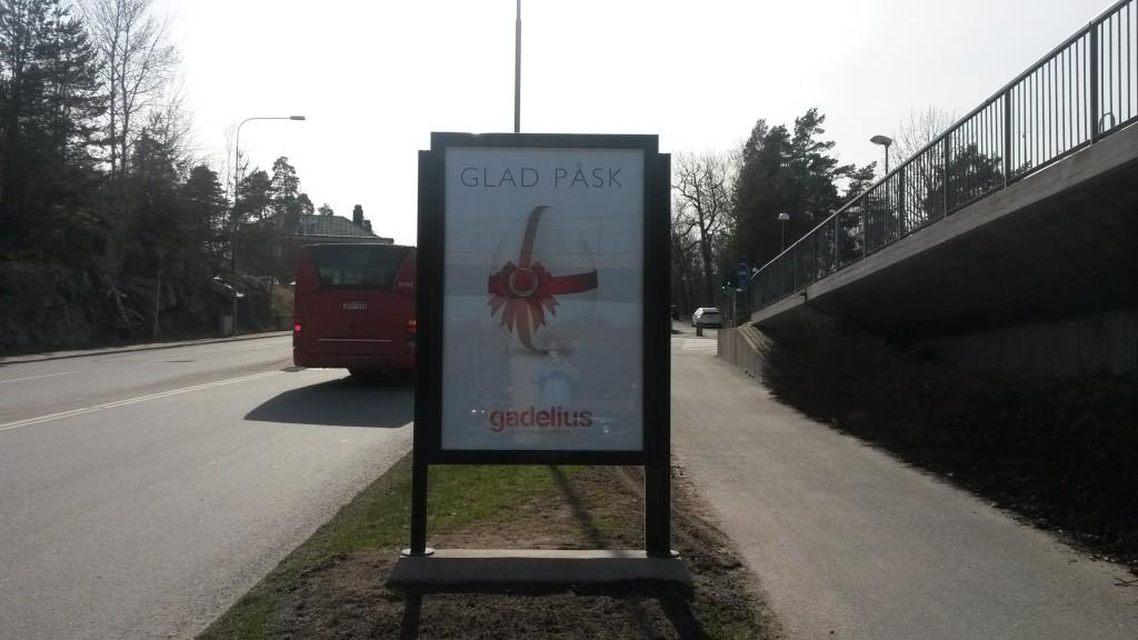 Gadelius mäklare Lejonvägen GUSO reklamskylt
