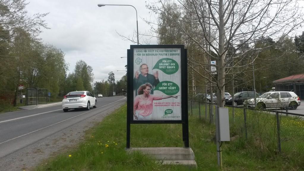 Centerpartiet Upplands Väsby GUSO utomhusreklamskylt Breddenvägen