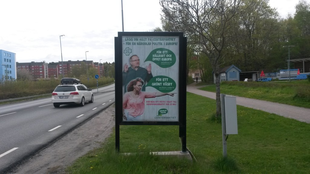Centerpartiet Upplands Väsby GUSO utomhusreklamskylt Dragonvägen