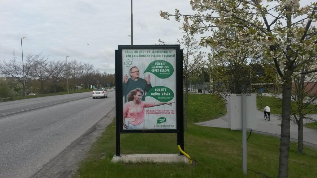 Centerpartiet Upplands Väsby GUSO utomhusreklamskylt Husarvägen