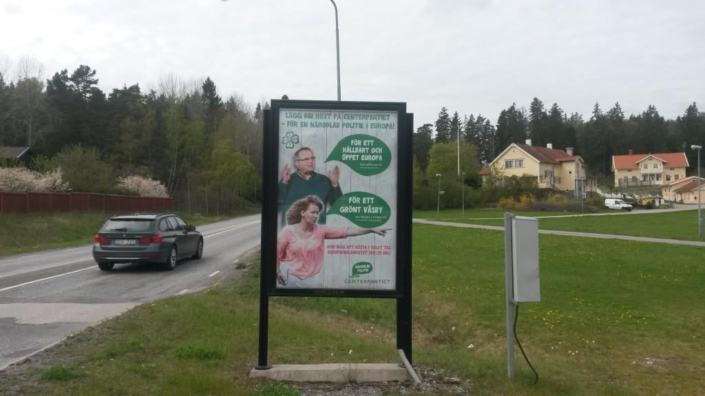 Centerpartiet Upplands Väsby GUSO utomhusreklamskylt Sandavägen