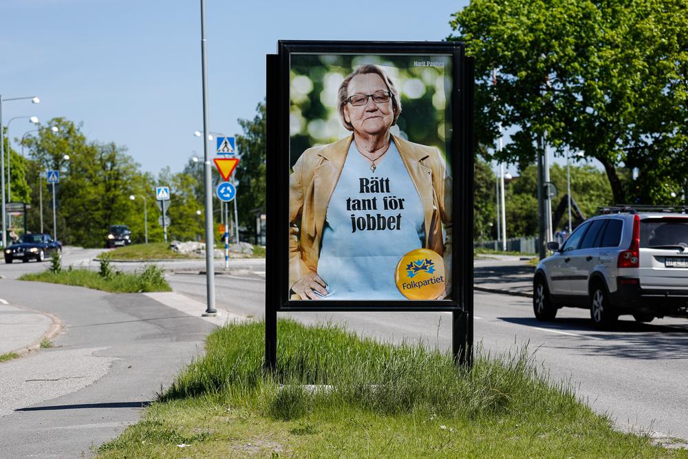 Folkpartiet Lidingö - reklamskylt Larsbergsvägen  - GUSO utomhusreklam