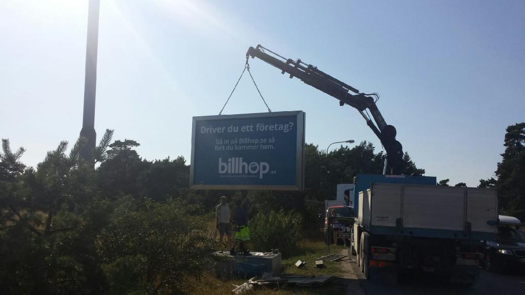 GUSO reklamskylt Visby flygplats flyginfarten